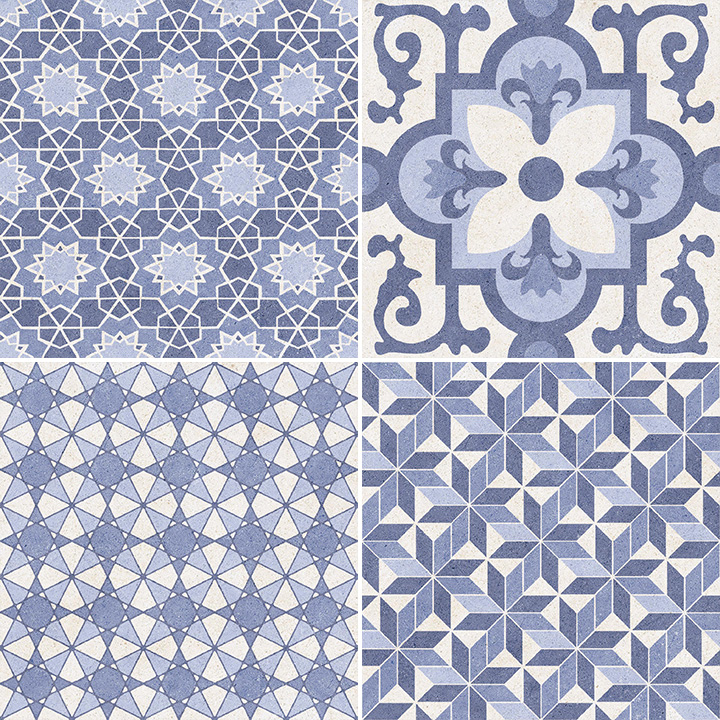 Vintage Azul Mix 25x25 (Variation of patterns in the box)